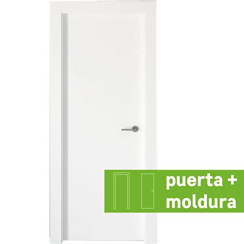 Conjunto puerta bari lacada blanca de 72,5 izquierda + kit de tapetas