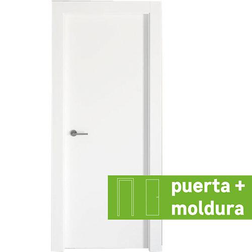 Conjunto puerta bari lacada blanca de 72,5 derecha + kit de tapetas
