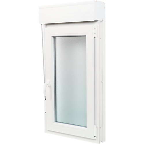Ventana pvc blanca oscilobatiente persiana derecha 60x115 cm