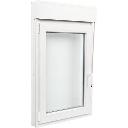 Ventana pvc blanca oscilobatiente persiana izquierda 75x125 cm