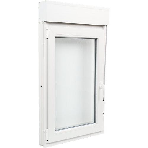 Ventana pvc blanca oscilobatiente persiana izquierda 75x135 cm