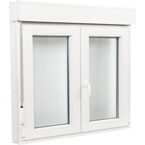 Ventana pvc blanca oscilobatiente persiana 140x125 cm