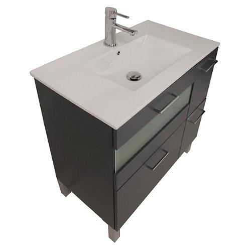 Mueble de baño con lavabo fox gris 80 cm