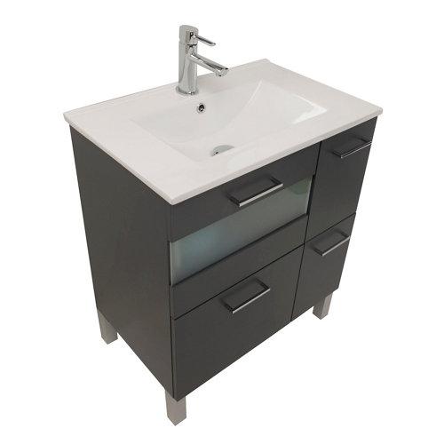 Mueble de baño con lavabo fox gris 70 cm