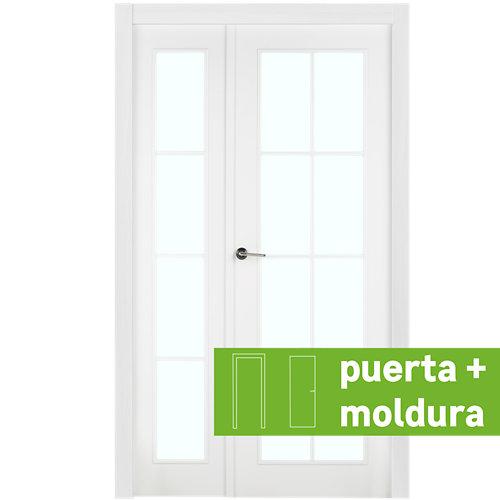 Conjunto puerta doble cristal marsella blanca de 125 cm (82+42) dcha + tapetas