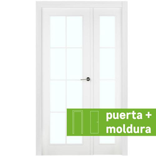 Conjunto puerta doble cristal marsella blanca de 125 cm (82+42) izda + tapetas