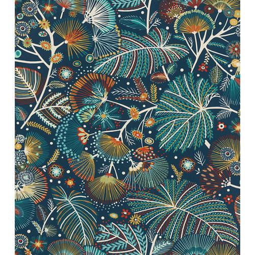 Papel pintado vinílico naturaleza festivo azul