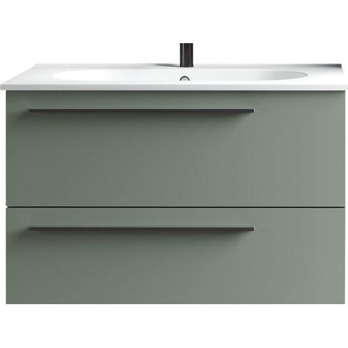 Mueble de baño con lavabo mia verde mate 80 cm