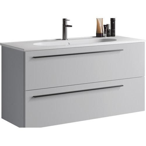 Mueble de baño con lavabo mia gris perla mate 100 cm