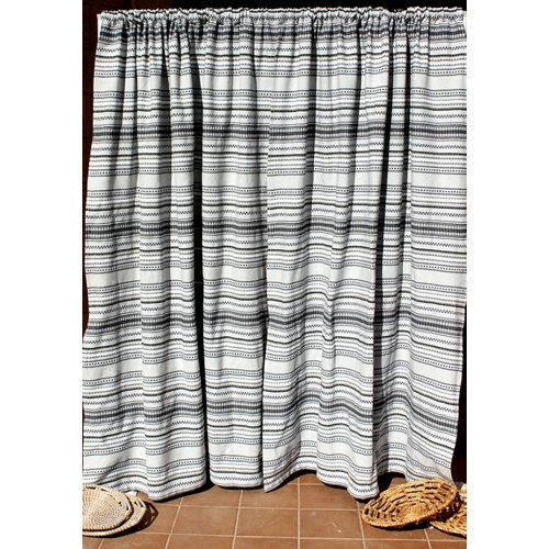 Cortina de puerta étnica gris de 155 x 220 cm