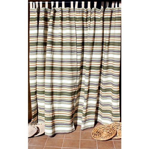 Cortina de puerta multicolor étnica 8 trabillas de 155 x 220 cm