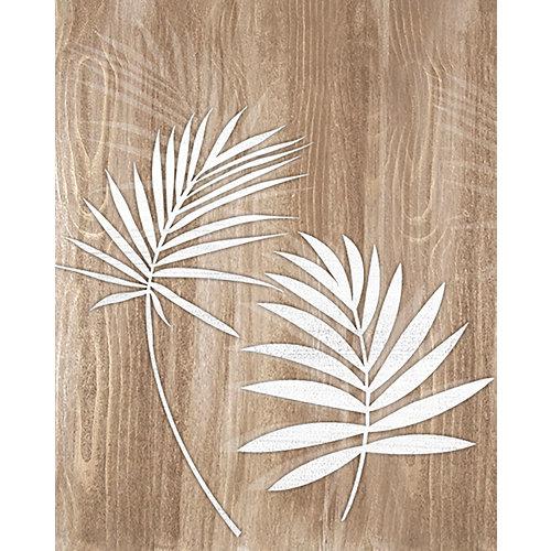 Cuadro decowood hojas blancas 50 x 40 cm