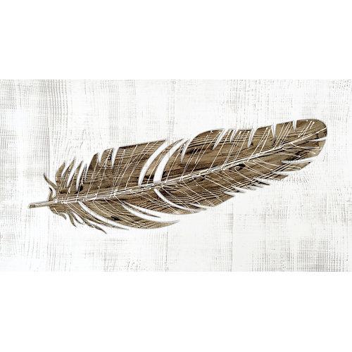 Cuadro decowood pluma marrón 60 x 110 cm