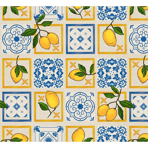 Mantel hule limones 140 cm al corte