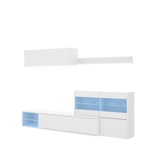 Mueble de salón hebe blanco brillo 180x260x41 cm