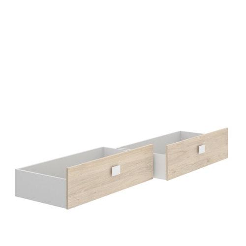 Estructura de cama dabih con 2 cajones inferiores natural y blanco
