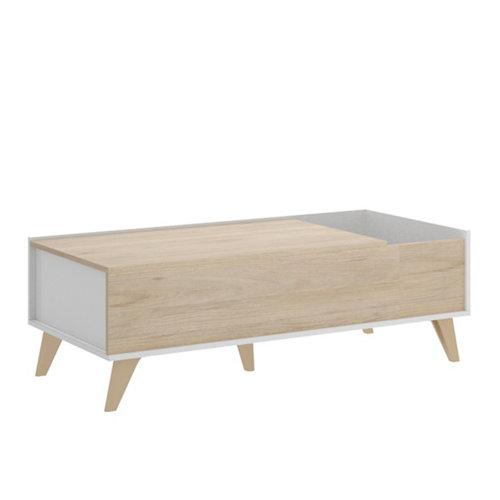 Mesa de centro elevable nela natural y blanco 41x99x60 cm
