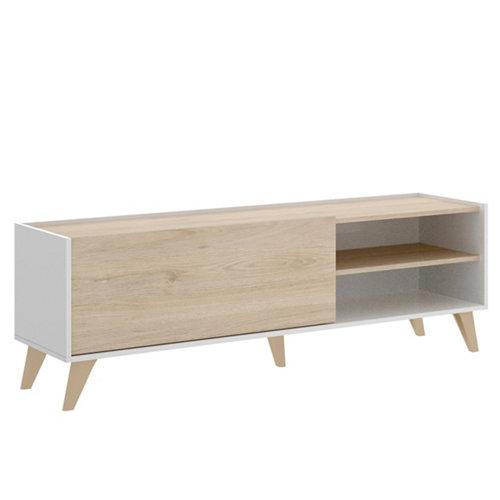 Mueble de tv nela natural y blanco 47x155x43 cm