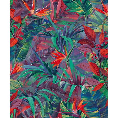Papel pintado vinílico floral selva naranja azul naranja
