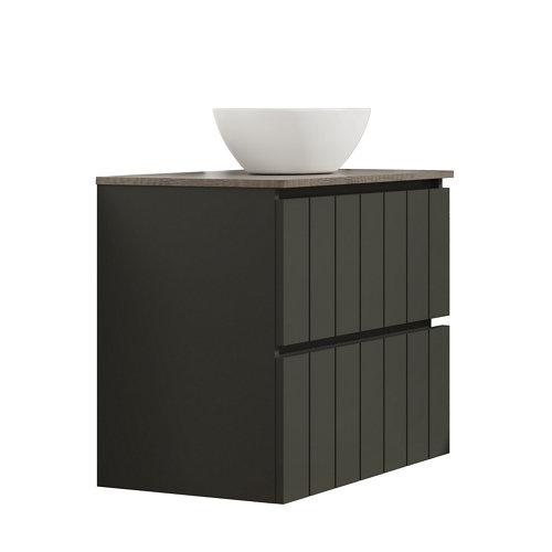 Mueble de baño con lavabo terra gris oscuro 80x45 cm