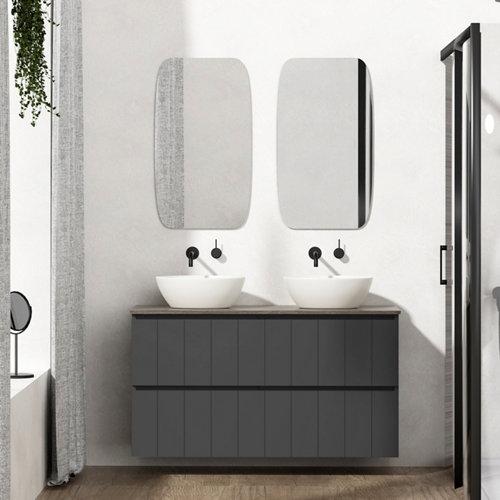 Mueble de baño con lavabo terra gris oscuro 120x45 cm