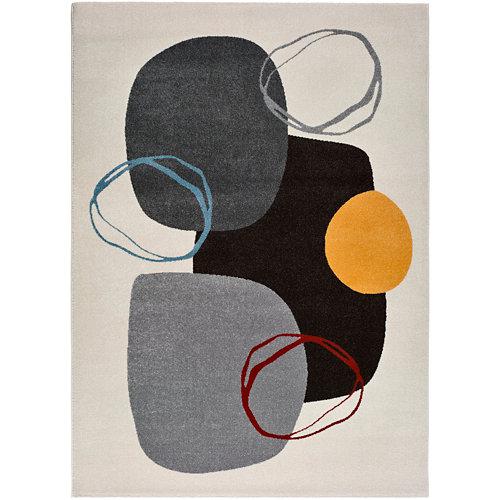 Alfombra de interior multicolor polipropileno design circulos 60 x 120cm