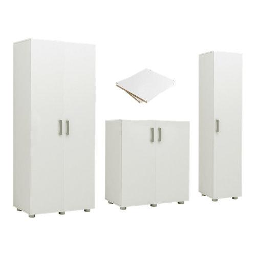 Pack 2 armarios altos+ armarios bajo+ armario para colgar blanco