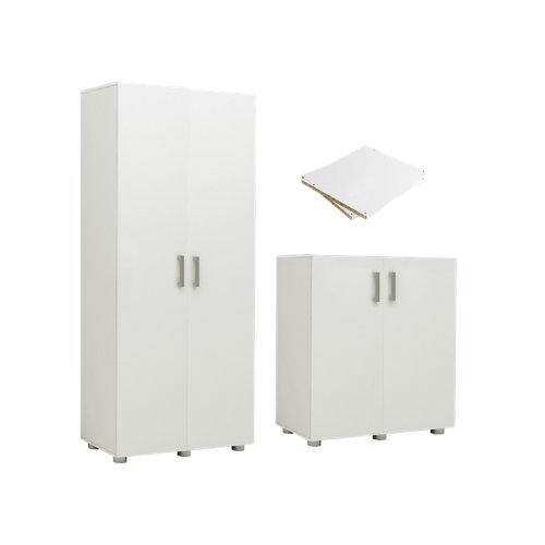 Pack de armarios alto y bajo + baldas blanco