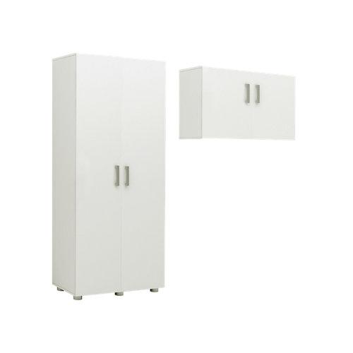 Pack armario alto + armario colgar blanco