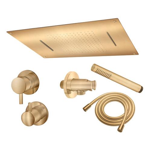 Conjunto de ducha empotrado monomando maier ministrar oro brillo