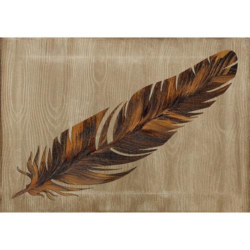 Tapa contador pluma fondo marrón 50 cm x 35 cm