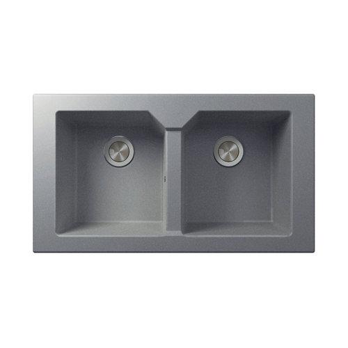 Fregadero 2 senos de resina plata rectangular interbany lagos plus 80x51cm