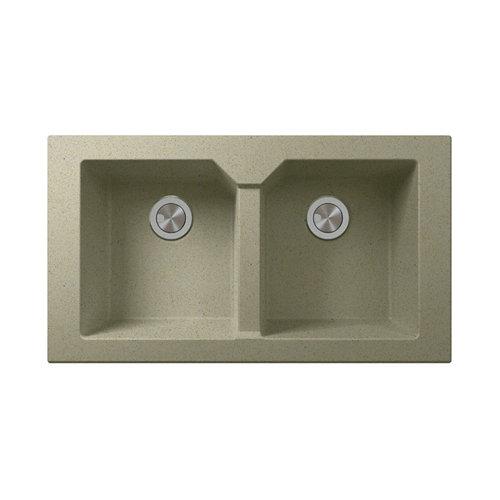 Fregadero 2 senos de resina crema rectangular interbany lagos plus 80x51cm