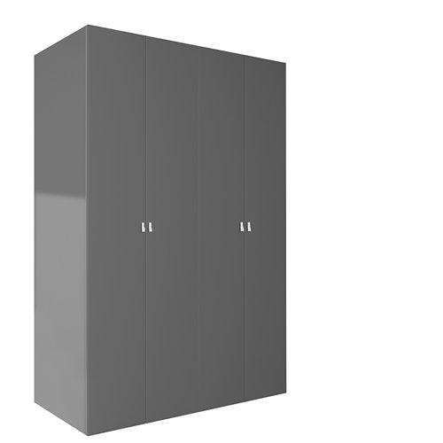 Armario ropero puerta abatible spaceo home macao gris 160x240x60 cm