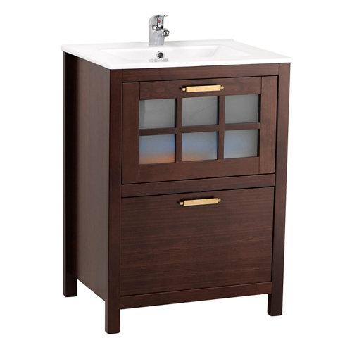 Mueble de baño con lavabo nizza nogal 60x45 cm