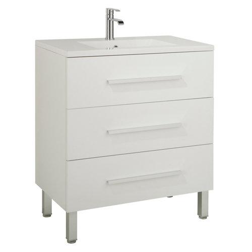 Mueble de baño con lavabo y espejo madrid blanco 80x45 cm