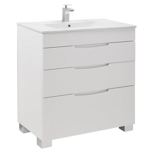 Mueble de baño con lavabo y espejo asimétrico blanco 80x45 cm