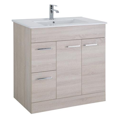 Mueble de baño con lavabo y espejo motril roble 80x45 cm