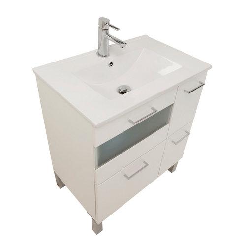 Mueble de baño con lavabo y espejo fox blanco 70x45 cm