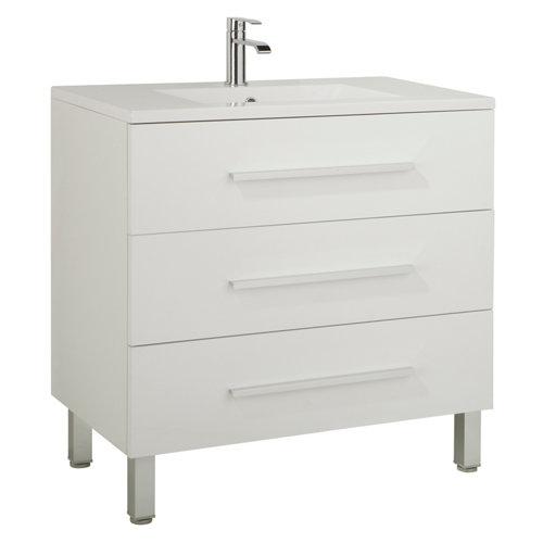 Mueble de baño con lavabo y espejo madrid blanco 100x45 cm