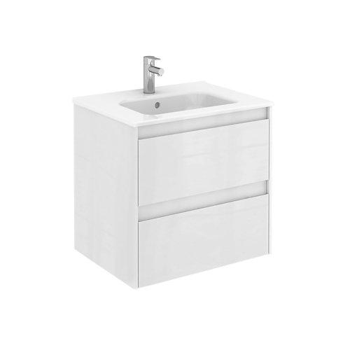 Mueble de baño con lavabo y espejo alfa blanco 60x45 cm