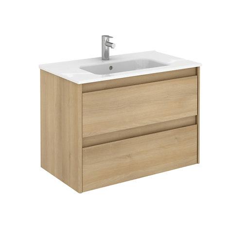Mueble de baño con lavabo alfa roble 80x45 cm