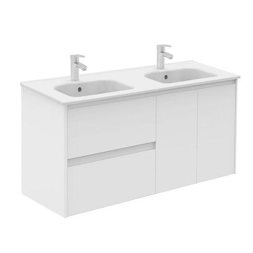 Mueble de baño con lavabo y espejo alfa blanco 120x45 cm