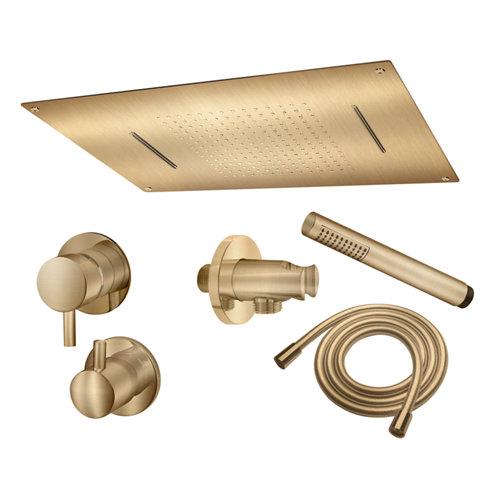 Conjunto de ducha empotrado monomando maier ministar oro cepillado