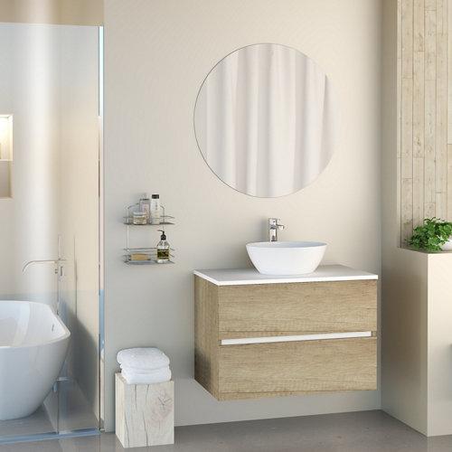 Mueble de baño con lavabo y espejo harbor top natural 80x46 cm