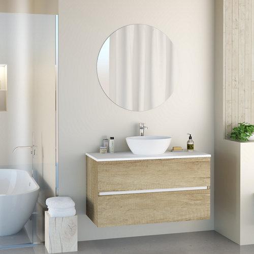 Mueble de baño con lavabo y espejo harbor top natural 100x46 cm