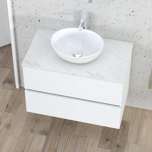 Mueble de baño con lavabo y espejo bari stone blanco 80x46 cm
