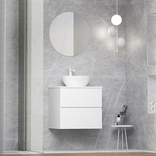 Mueble de baño con lavabo y espejo bari blanco 60x46 cm
