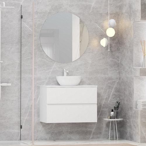 Mueble de baño con lavabo y espejo bari blanco 80x46 cm