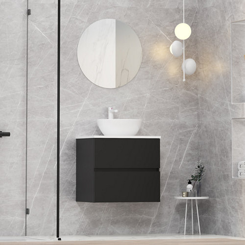 Mueble de baño con lavabo y espejo bari negro 60x46 cm